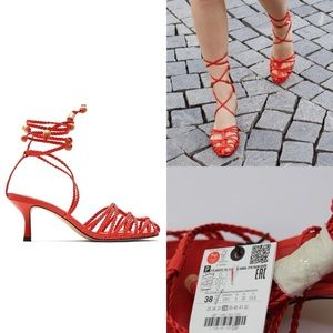 Zara NWT Red Heeled Woven Strappy Sandals 7.5 38